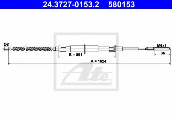 24.3727-0153.2 Cable, parking brake