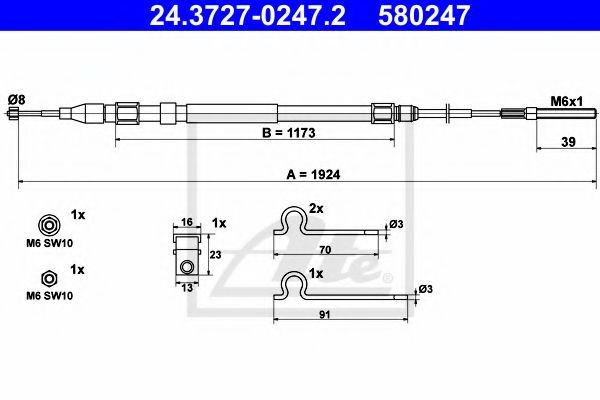 24.3727-0247.2 Cable, parking brake