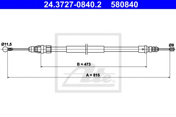24.3727-0840.2 Cable, parking brake