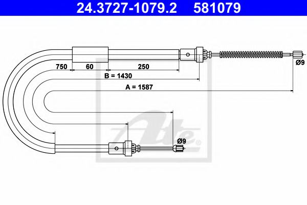 24.3727-1079.2 Cable, parking brake