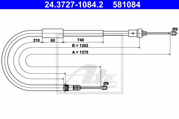 24.3727-1084.2 Cable, parking brake