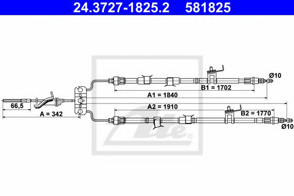 24.3727-1825.2 Cable, parking brake