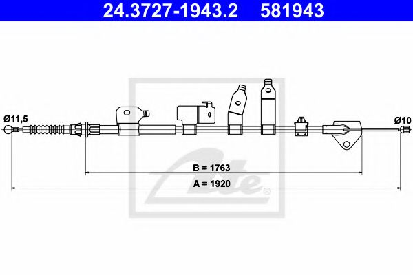 24.3727-1943.2 Cable, parking brake