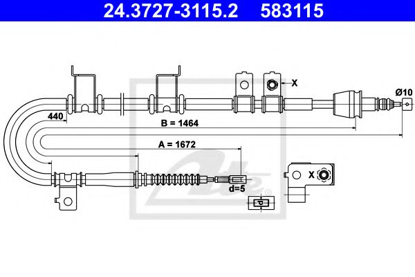 24.3727-3115.2 Cable, parking brake