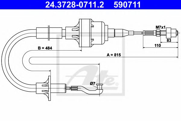 24.3728-0711.2 Clutch Clutch Cable