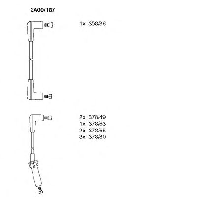 3A00/187 Ignition System Ignition Cable Kit