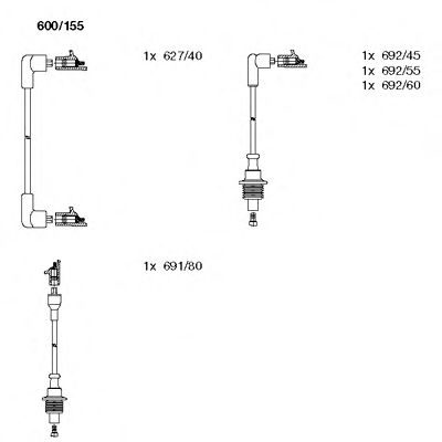 600/155 Ignition System Ignition Cable Kit