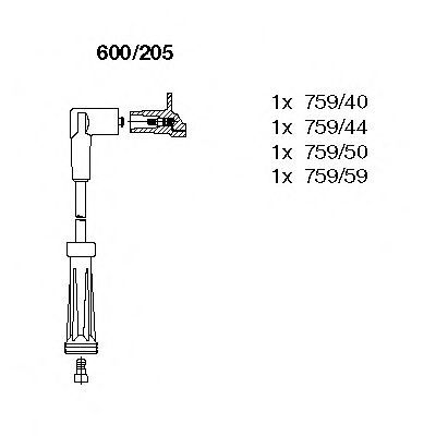 600/205 Ignition System Ignition Cable Kit