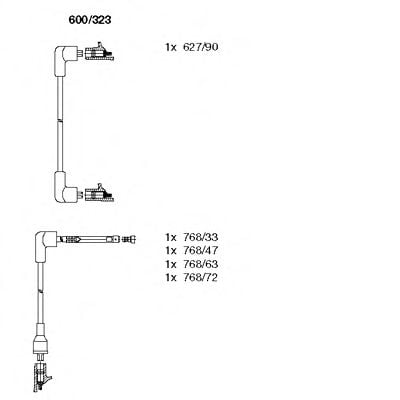 600/323 Ignition System Ignition Cable Kit