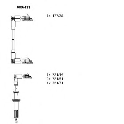 600/411 Ignition System Ignition Cable Kit